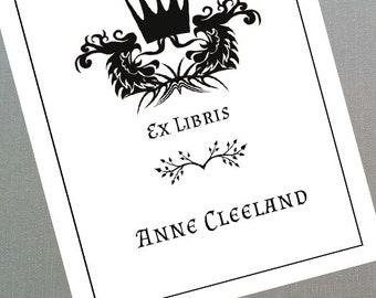 Gothic Bookplate, Medieval Bookplate, GoT style Gift, Personalized Set of 24