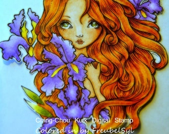 Iris - Digital Stamp Instant Download / Flower Lady Fantasy Art by Ching-Chou Kuik