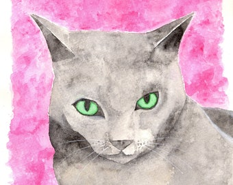 Grey cat watercolour painting, original feline artwork, crazy cat lady