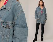 Oversized Denim Jacket LEVIS Jean Jacket 80s Blue Denim Levi Coat Trucker 1980s Vintage Retro Grunge Hipster Red Tab Extra Large xl 2xl xxl
