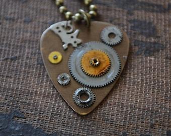 Steampunk Guitar Pick Pendant - Mens Necklace - Gears - Musician -  Dad - Husband - Custom Guitar Pick