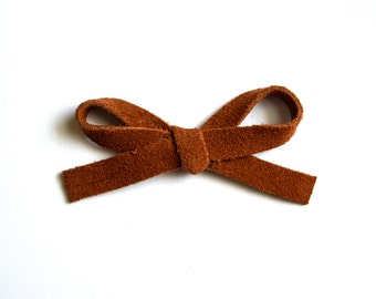 Cinnamon Suede Brown LARGE Leather Bow Clip Photo Prop for Newborn Baby Little Girl Child Adult Summer Headwrap Pretty Bow