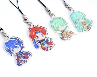 Fire Emblem SET B: Marth, Roy, Ephraim, Eirika - Hand-Drawn Double Sided Front & Back Acrylic Charms with Phone Strap