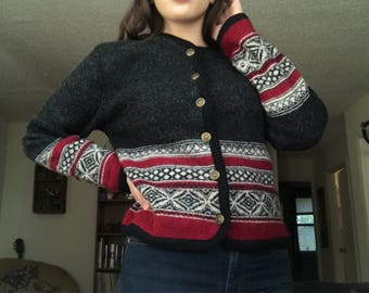 Thick Printed Button Up Cardigan Sweater Jacket