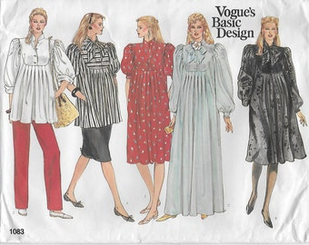 Vogue Maternity Dress Top Skirt Pants Size 12 Pattern 1083 Basic Design