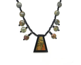 Incredible Intartia: Red Creek Jasper with Black Onyx Necklace