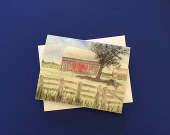 Barn of My Childhood.  Watercolor print card with white envelope.