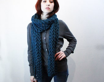NEW extra long wide chunky open end cowl mens scarf Vegan Teal Blue