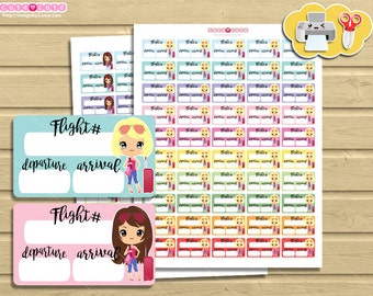 Departure Chic blonde and brown Printable Stikers. Print and cut travel flight stickers for your Life planner.