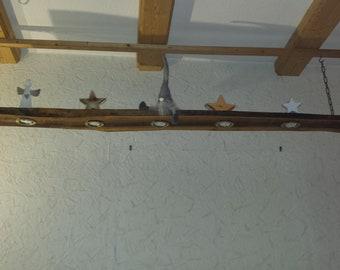 Rustic pendant lamp, wooden lamp, wood,