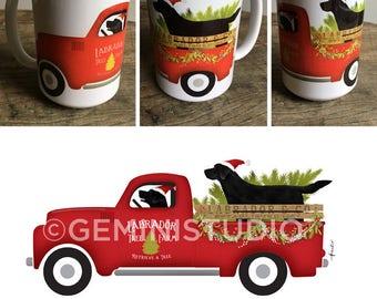 Black Lab labrador retriever christmas tree farm dog Coffee company graphic art MUG 15 oz ceramic coffee mug