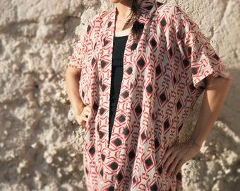 Jute Cotton Tribal Kimono Boho Festival Jacket African Print Robe Raw Cotton Short Kimono Bold Design Kimono Blue or Red Print Jacket