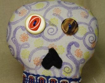 Plush Sugar Skull  Art Doll - Dia de Los Muertos - Day of the Dead - Calavera Ornament