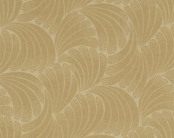 Downton Abbey The Women's Collection Lady Edith Leaf Tonal Tan A 7330 OGL by Andover Fabrics - FQs LEFT