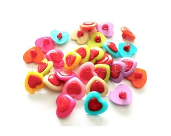 Hearts buttons, Set of 20 pieces, Plastic button, buttons, resin buttons, cute buttons, sewing supplies