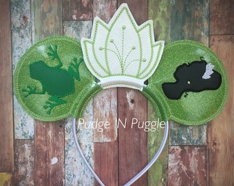 Frog princess inspired mouse ears headband
