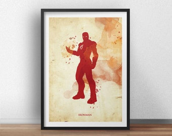 Retro Vintage Ironman Poster  - Superhero geek art print - Available in different sizes. Check the drop-down menu for your choice