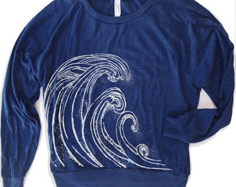 Womens WAVE Tri-Blend Pullover slouchy t-shirt hand screen printed S M L (+ Color Options) gym yoga fitness top