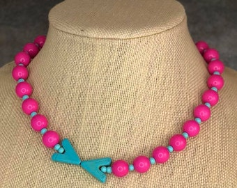 Pink Bead Necklace, Turquoise, Assymmetrical Necklace, Turquoise Gemstone Beads, Arrow Bead Necklace, Pink and Blue, Gumball Necklace