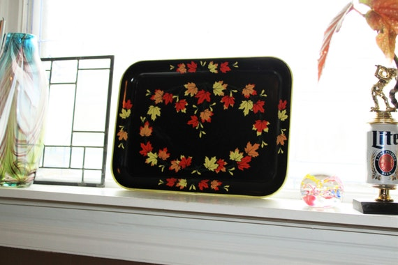 Vintage Fall Decor TV Tray Black with Orange and Yellow Autumn Leaves