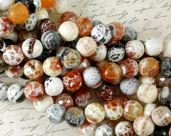 14 Fire Agate Faceted Beads Round 14mm Disco Ball (5061)