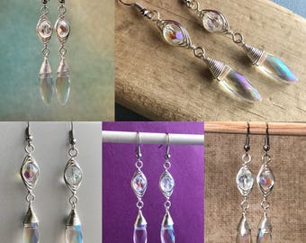 Silver Plated Wire Wrapped Faceted Glass Bead Dangle Earrings