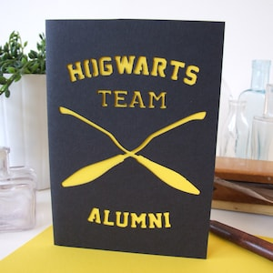 Carte Harry Potter, Hogwarts, team, quidditch, papier découpé