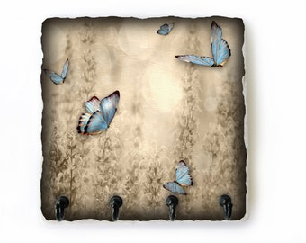 Butterfly Key Hook for Wall, Brown Tan Key Rack, Butterfly Wall Hooks, Wall Key Holder, Housewarming Gift (105)