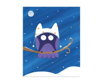 Owl in a Winter Hat ~ Seasonal Owl Print - Owl Christmas Decorations