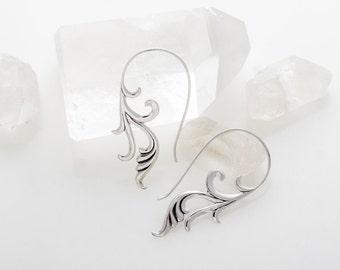 Sterling Silver Tribal Hoop Dangle Earrings - Ornate Art Nouveau Jewelry (S34)
