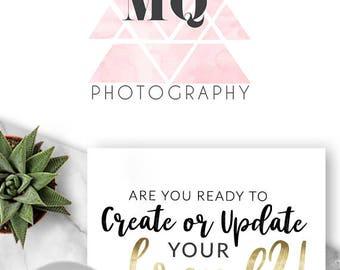 254  - Melanie Quirez, LOGO Premade Logo Design, Branding, Blog Header, Blog Title, Business, Brand, Blogger, Blogging, Geometric, Pink, Mod