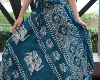 Gypsy Skirt Elephant Maxi Skirt Boho Long Skirt flowing skirts Green