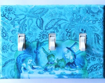 Alice TRIPLE & Double Switch plates- MATCHING SCREWS- Mad tea party Alice decoration black and white switch plate outlet cover switch covers