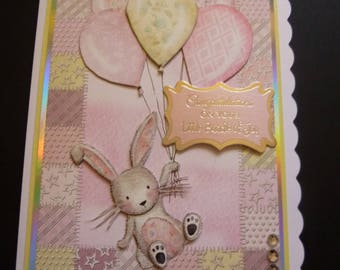 Baby Girl Card, Baby Shower Card, New Baby Card, New Arrival Card, 3d Decoupage Card, Baby Congratulations Card, Handmade card from uk