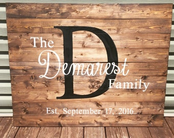 Last name sign, wooden wedding guest book, rustic wedding guest book