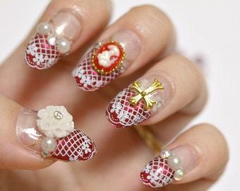 Deco nails, gothic lolita, lolita nails, Japanese fashion, cameo nail, lace nail art, bridal nail, wedding nails, cute nails, 3D nails