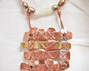Necklace- Copper, Brass, and Silver Weave Pendant, Freshwater Pearls, Aventurine, Thai Fine SIlver
