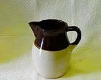 Vintage Very Rare Two Tone Brown 6 Inch Milk Pitcher Glazed Over Yellow Ware Pottery Very Old Great Condition