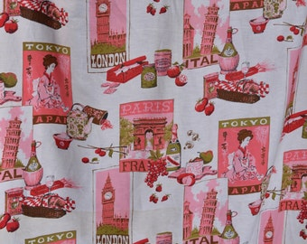 Vintage 1950s Novelty Print Fabric - Travel Yardage - 8 Yards 36 Wide Bolt - Sewing Supplies