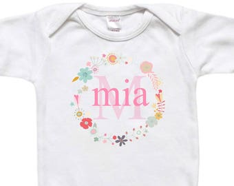 Personalized Baby Bodysuit - Toddler Shirt Tshirt - Baby Shower Birthday Gift - Flowers Floral Wreath