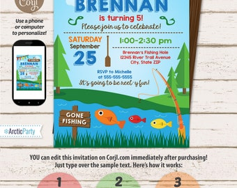 Fishing Birthday Party Invitations - Fishing Party Invitation - Fishing Party Supplies - Fishing Invitations - INSTANT ACCESS - Corjl