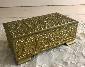 Ornate Metal Treasure Box Gold Vintage