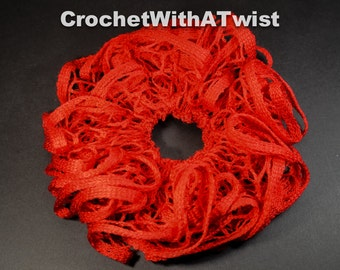 neon flourescent orange ruffle scrunchie Wear with a bun or ponytail crocheted handmade