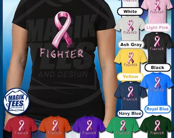 Pink Breast Cancer Awareness Fighter Ribbon T-Shirt