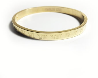 Roman Numeral Stainless Steel Bangle. Bracelet. Gold Plated.