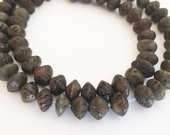 "Saucer Betel Nut Beads Salwag 7mm Saucer Khaki 16"" strand"