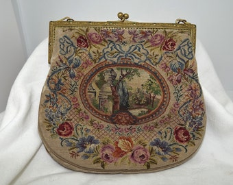 Vintage, Purse, Bag, Petit Point, Wedding, Tapestry, Flowers, Handbag, Art Deco, Antique, Needlework, Neoclassical, Regency, Embroidery
