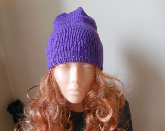 Hand Knit Slouchy Beanie Hat Acrylic Purple