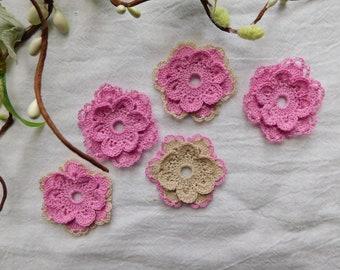 Hand Crocheted Magenta Flowers - Set Of 5