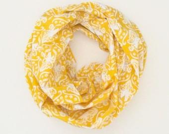Infinity Scarf - Yellow Gold White Unicorns - Cotton Fashion Tube Scarf
